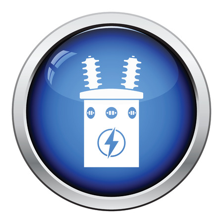 electricity substation: Electric transformer icon. Glossy button design. Vector illustration. Illustration