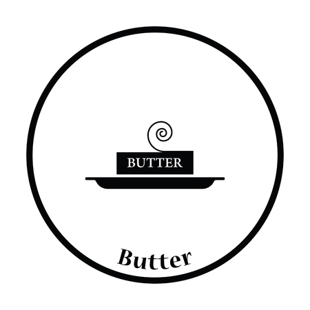 butterfat: Butter icon. Thin circle design. Vector illustration.