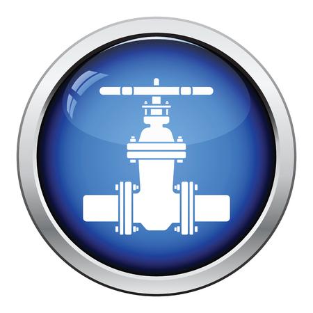 caños de agua: icono de la válvula de la tubería. Diseño brillante del botón. Ilustración del vector.