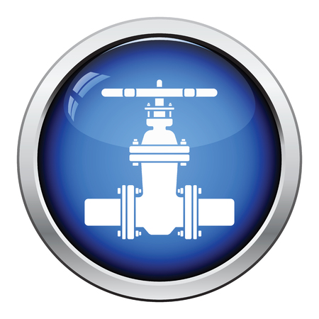 water pipes: Pipe valve icon. Glossy button design. Vector illustration.