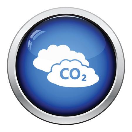 co2: CO2 cloud icon. Glossy button design. Vector illustration. Illustration