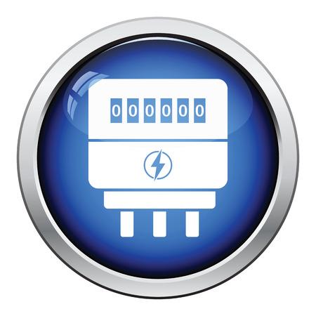 contador electrico: icono eléctrica metros. Diseño brillante del botón. Ilustración del vector.