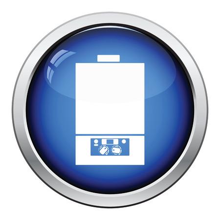 thermodynamic: Gas boiler icon. Glossy button design. Vector illustration.