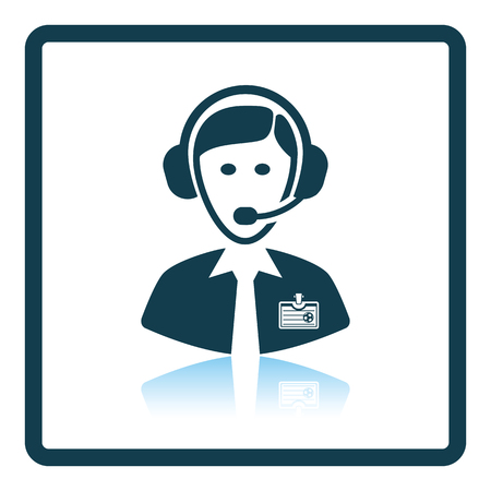 commentator: Icon of football commentator. Shadow reflection design. Vector illustration. Illustration