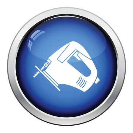 handtool: Icon of jigsaw icon. Glossy button design. Vector illustration. Illustration