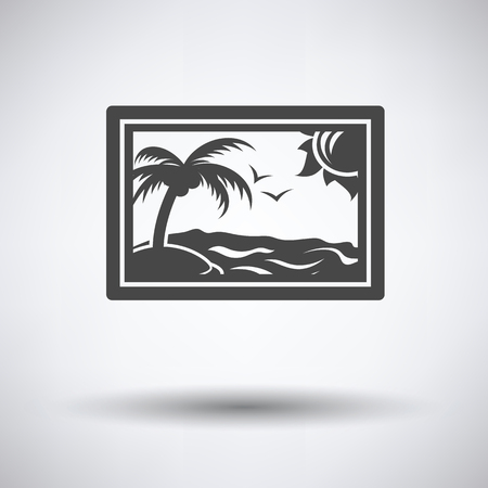 framework: Landscape art icon on gray background, round shadow. Vector illustration.