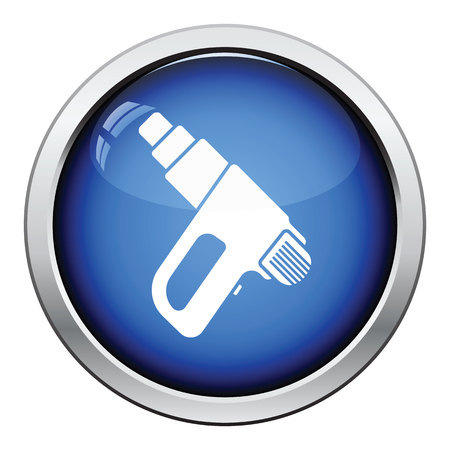 electric dryer: Icon of electric industrial dryer. Glossy button design. Vector illustration. Illustration