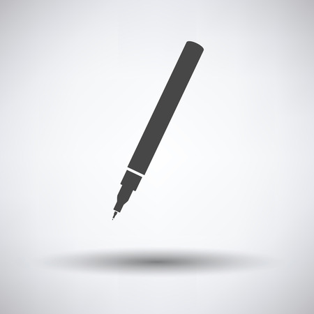 pens: Liner pen icon on gray background, round shadow. Vector illustration.