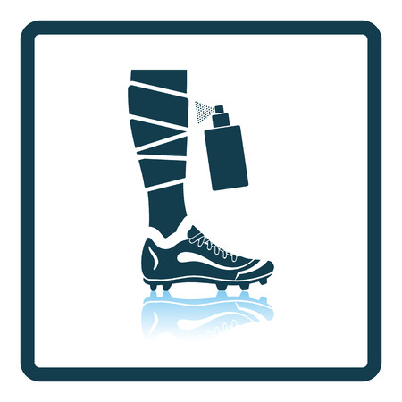 injuries: Icon of football bandaged leg with aerosol anesthetic. Shadow reflection design. Vector illustration. Illustration