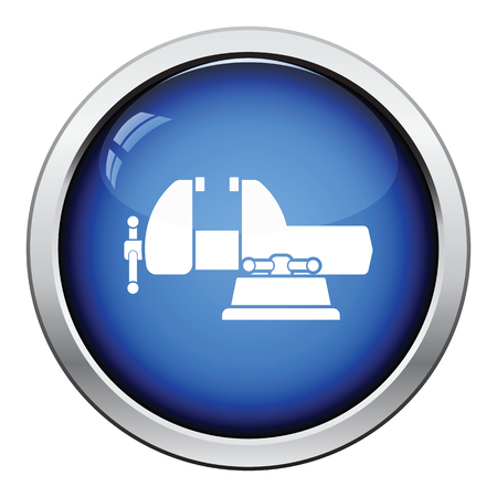 vise: Icon of vise. Glossy button design. Vector illustration.