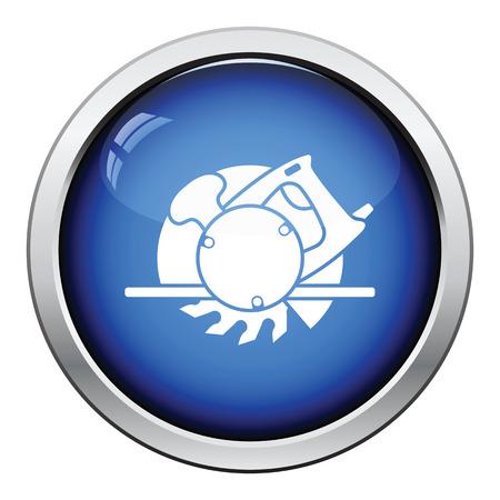 handtool: Icon of circular saw. Glossy button design. Vector illustration. Illustration