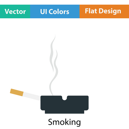 carcinogen: Cigarette in an ashtray icon. Flat color design. Vector illustration. Illustration