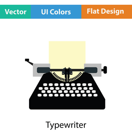 typewriting machine: Typewriter icon. Flat color design. Vector illustration.