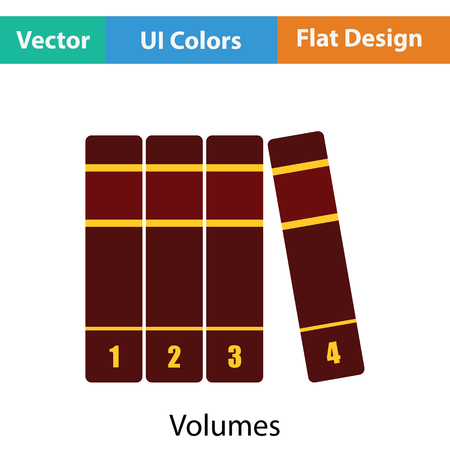 volumes: Books volumes icon. Flat color design. Vector illustration. Illustration