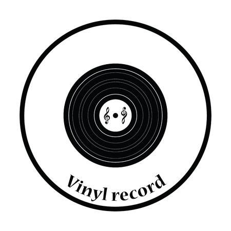 analogue: Analogue record icon. Thin circle design. Vector illustration.