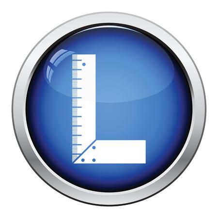 setsquare: Icon of setsquare. Glossy button design. Vector illustration. Illustration