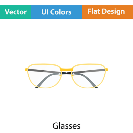spectacle frame: Glasses icon. Flat color design. Vector illustration.