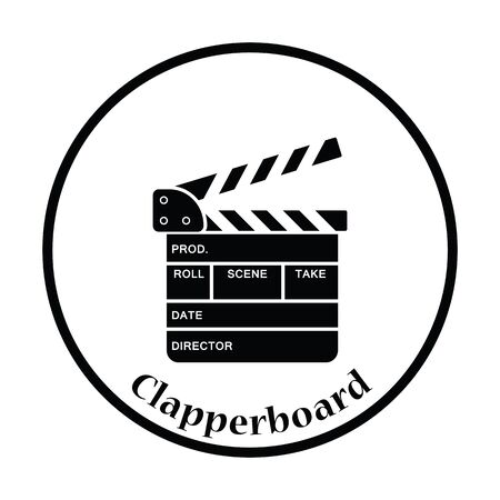 clapperboard: Clapperboard icon. Thin circle design. Vector illustration.