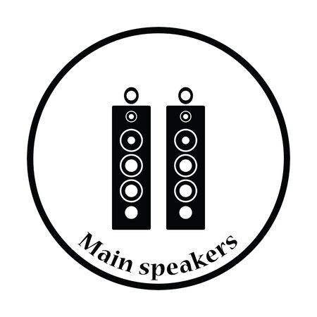 party system: Audio system speakers icon. Thin circle design. Vector illustration.