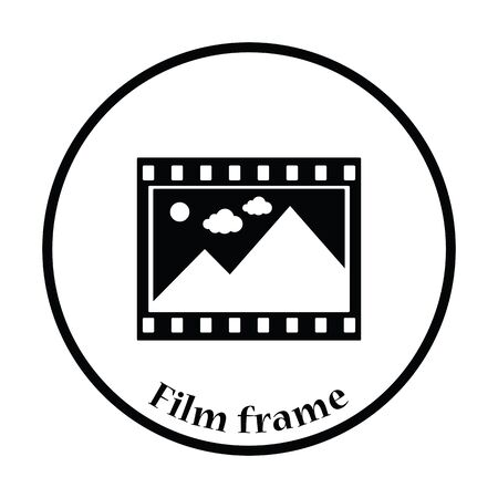 film frame: Film frame icon. Thin circle design. Vector illustration.
