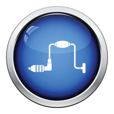 auger: Icon of auger. Glossy button design. Vector illustration.