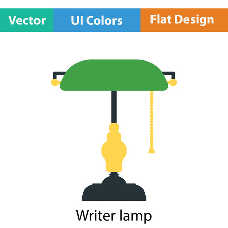 lamplight: Writers lamp icon. Flat color design. Vector illustration.