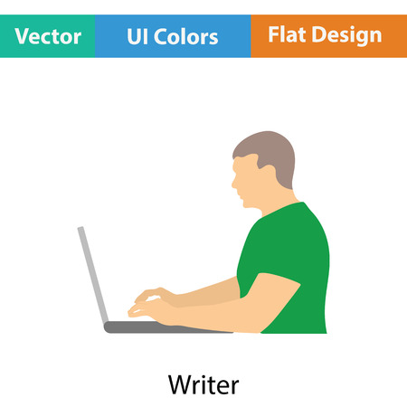 writer: Writer at the work icon. Flat color design. Vector illustration.