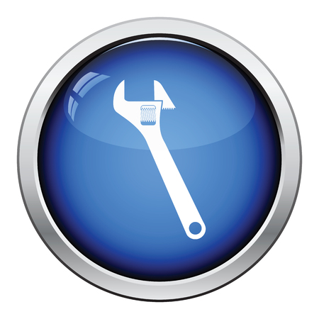 adjustable: Icon of adjustable wrench. Glossy button design. Vector illustration.