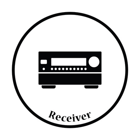 home theater: Home theater receiver icon. Thin circle design. Vector illustration.