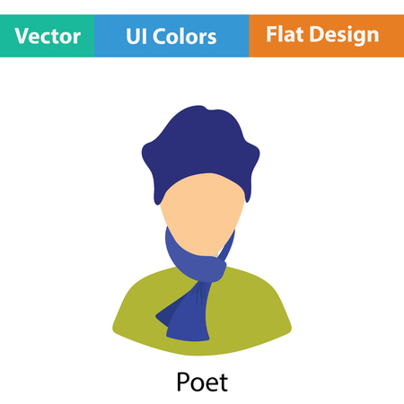 a poet: Poet icon. Flat color design. Vector illustration. Illustration