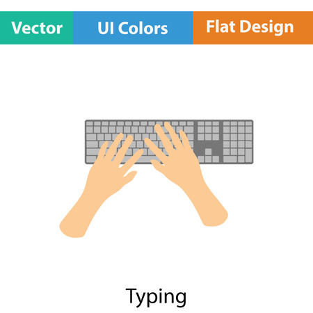 typing: Typing icon. Flat color design. Vector illustration.