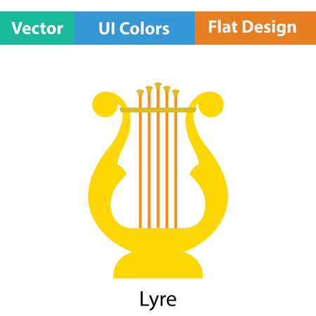conservatory: Lyre icon. Flat color design. Vector illustration.