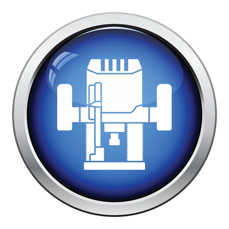 cutter: Icon of plunger milling cutter. Glossy button design. Vector illustration.