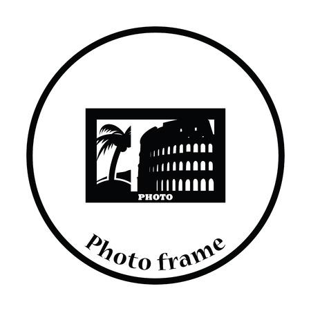 presentation screen: Digital photo frame icon. Thin circle design. Vector illustration. Illustration