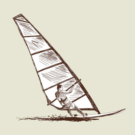 windsurf: Windsurfing sketch set. Vector illustration without transparency and meshes.