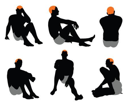 to sit: Conjunto de los hombres de la silueta. Muy suave y detallada con el peinado de color. Ilustración del vector.
