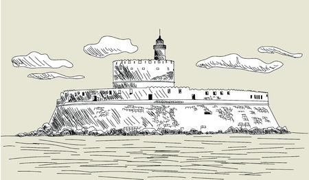fortress: ancient fort. Sketch design. Vector illustration.