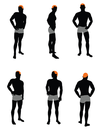 standing man: Set of men silhouette. Very smooth and detailed with color hairstyle. Vector illustration.