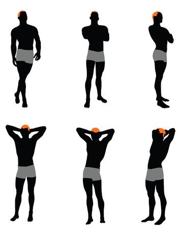 Set di silhouette uomini. Molto liscia e dettagliata con l'acconciatura di colore. Illustrazione vettoriale. Vettoriali