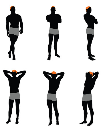 stripper: Set of men silhouette. Very smooth and detailed with color hairstyle. Vector illustration.