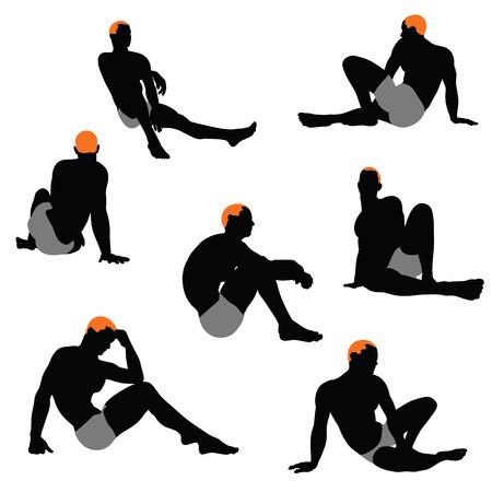 persona sentada: Conjunto de los hombres de la silueta. Muy suave y detallada con el peinado de color. Ilustración del vector.