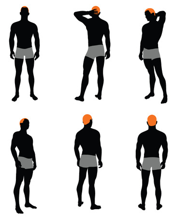 squat: Set of men silhouette. Very smooth and detailed with color hairstyle. Vector illustration.
