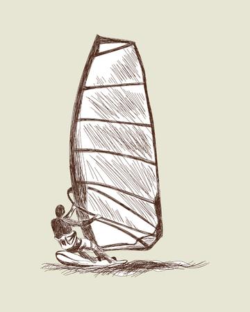 windsurfing: Windsurf conjunto de dibujos.