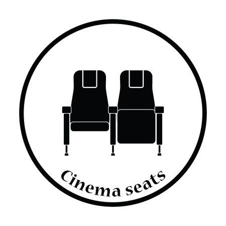 cinema seats: Cinema seats icon. Thin circle design. Vector illustration.
