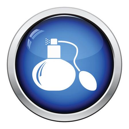 odors: Cologne spray icon. Glossy button design. Vector illustration. Illustration