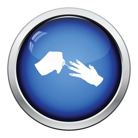 manicurist: Manicure icon. Glossy button design. Vector illustration.