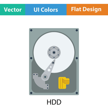 hdd: HDD icon. Flat color design. Vector illustration.