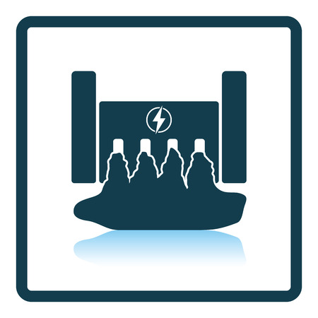 hydroelectricity: Hydro power station icon. Shadow reflection design. Vector illustration. Illustration