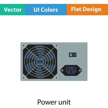 psu: Power unit icon. Flat color design. Vector illustration.