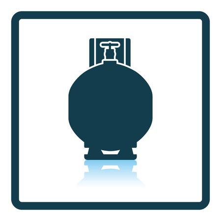 cilindro de gas: icono de cilindro de gas. diseño de la sombra reflexión. Ilustración del vector. Vectores